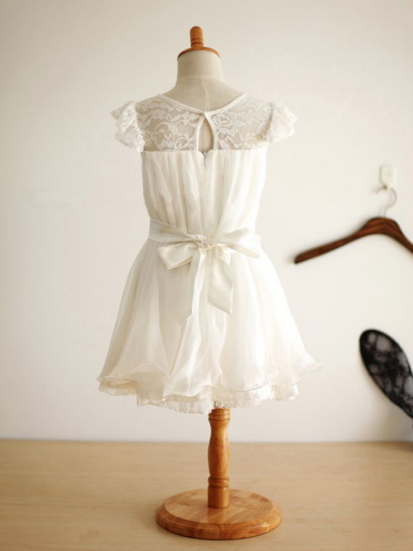 Amazing A-line Scoop Knee-Length Chiffon Flower Girl Dress